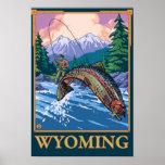 Escena de la pesca con mosca - Wyoming Póster