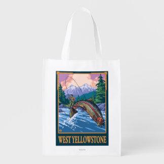 Escena de la pesca con mosca - Yellowstone del Bolsas Para La Compra