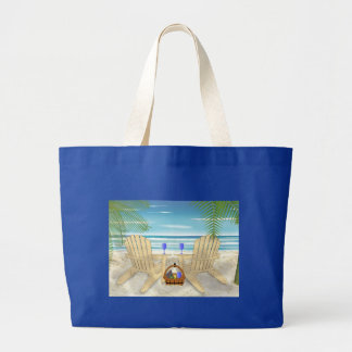 Escena de la playa bolsa tela grande