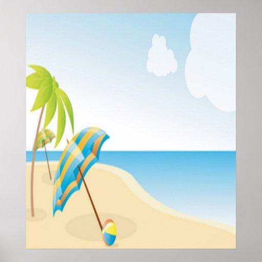Escena de la playa con el paraguas, las palmeras y póster