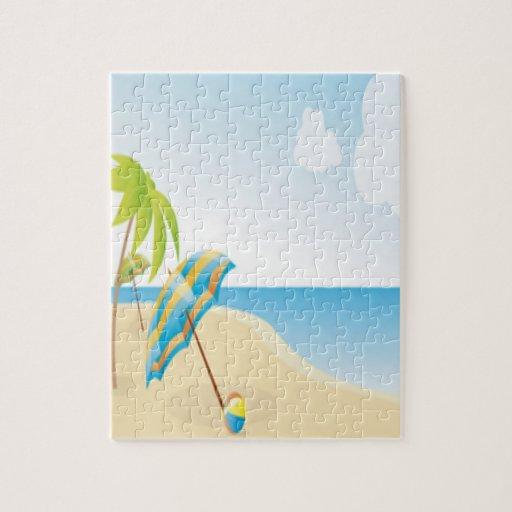 Escena de la playa con el paraguas, las palmeras y rompecabeza