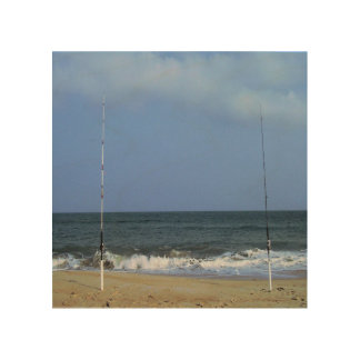 Escena de la playa con el trole impresión en madera