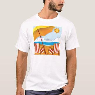 Escena de la playa con las sillas y el paraguas playera