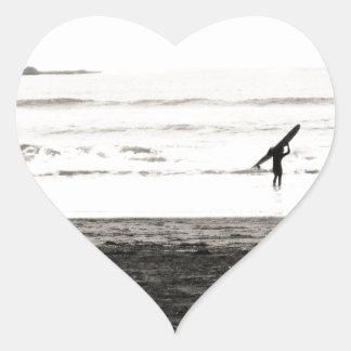 Escena de la playa de California septentrional Pegatina En Forma De Corazón