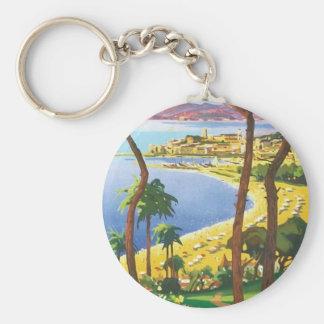 Escena de la playa de Cannes del viaje del vintage Llavero Redondo Tipo Pin