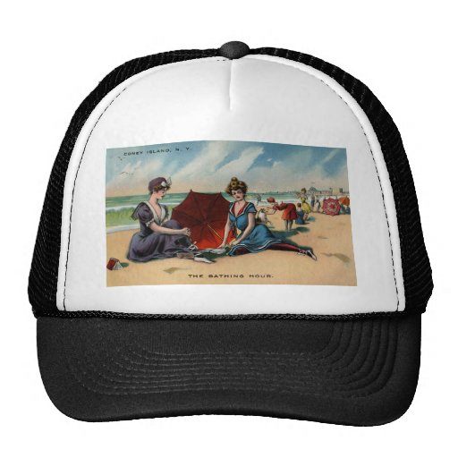 Escena de la playa de Coney Island NY 1909 Gorros Bordados