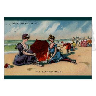 Escena de la playa de Coney Island NY 1909 Tarjeta De Felicitación