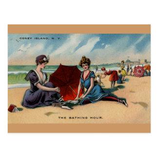 Escena de la playa de Coney Island NY 1909 Postal