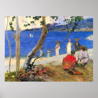 Escena de la playa de Eugène Enrique Paul Gauguin Posters