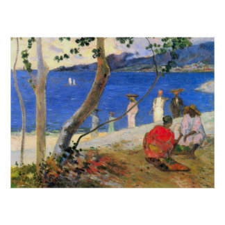 Escena de la playa de Eugène Enrique Paul Gauguin Póster