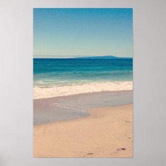 Escena de la playa de la aguamarina póster