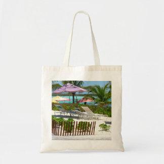 Escena de la playa de la isla caribeña bolsa tela barata