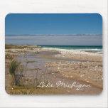 Escena de la playa de la orilla del lago Michigan Tapetes De Ratones