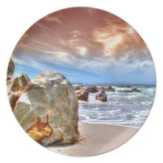 Escena de la playa de la placa de la melamina plato para fiesta