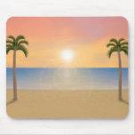 Escena de la playa de la puesta del sol: Mousepad  Alfombrilla De Ratones
