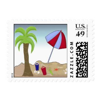 Escena de la playa de las vacaciones sellos