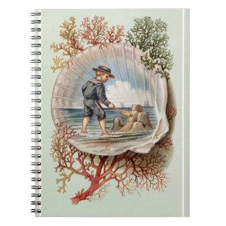 Escena de la playa de Little Boy del castillo de Spiral Notebooks