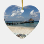 Escena de la playa de México Adorno Navideño De Cerámica En Forma De Corazón