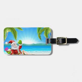 Escena de la playa de Santa del navidad del verano Etiqueta Para Equipaje