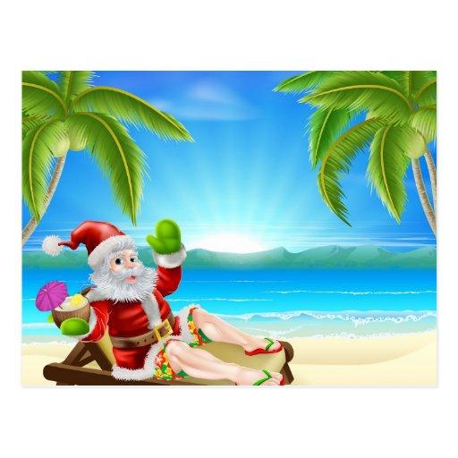 Escena de la playa de Santa del navidad del verano Postal