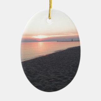 Escena de la playa ornamento para arbol de navidad