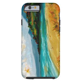 escena de la playa del caso del iPhone 6 Funda De iPhone 6 Tough