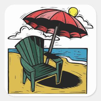 Escena de la playa del grabar en madera con la sil calcomanía cuadradas personalizada