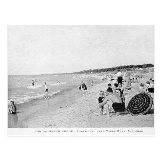 escena de la playa del lago Michigan de los años Tarjetas Postales