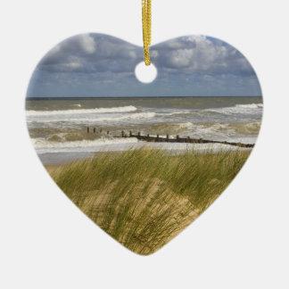 Escena de la playa del navidad adorno para reyes