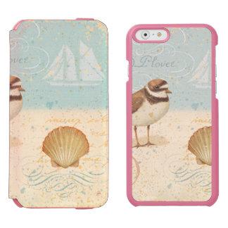 Escena de la playa del vintage funda billetera para iPhone 6 watson