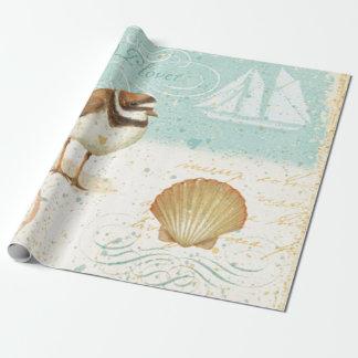 Escena de la playa del vintage papel de regalo
