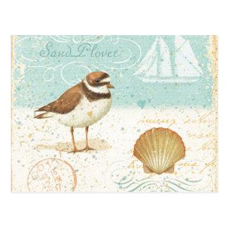 Escena de la playa del vintage postal