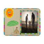 Escena de la playa, Sun, arena, plantilla de la fo Imán Flexible