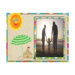 Escena de la playa, Sun, arena, plantilla de la fo Impresion De Lienzo