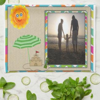 Escena de la playa, Sun, arena, plantilla de la fo Toallas De Mano