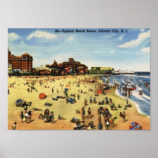 Escena de la playa, vintage de Atlantic City Poster