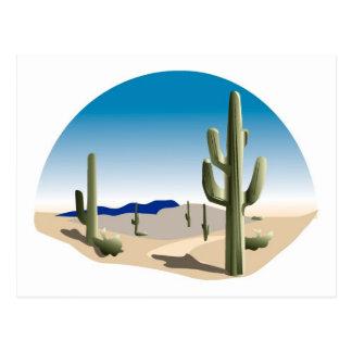 Escena de la pradera del cactus postal