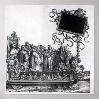 Escena de la procesión triunfal de Maximiliano Póster