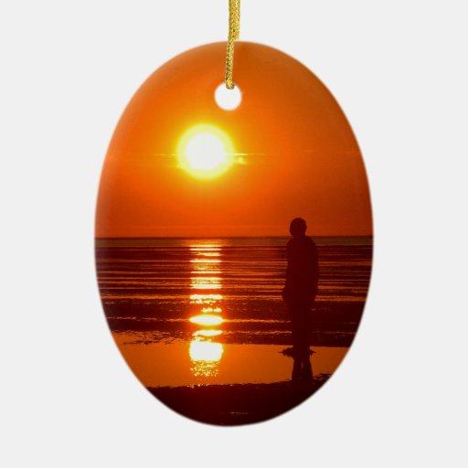 Escena de la puesta del sol ornamento para reyes magos