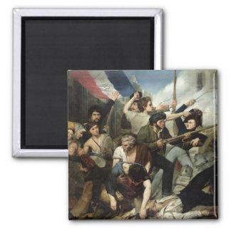 Escena de la revolución 1830 imán cuadrado