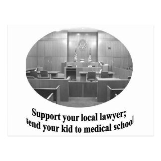 Escena de la sala de tribunal con cita del abogado tarjetas postales