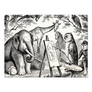 Escena de la selva de los 1800s del elefante de la arte fotografico