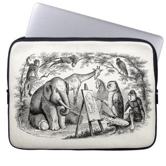 Escena de la selva de los 1800s del elefante de la funda computadora