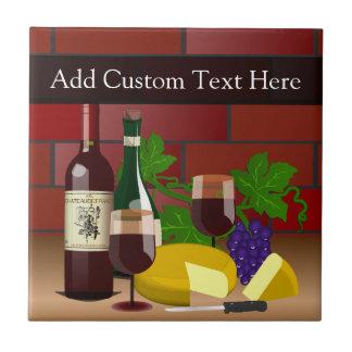 Escena de la tabla del queso del vino azulejo cuadrado pequeño