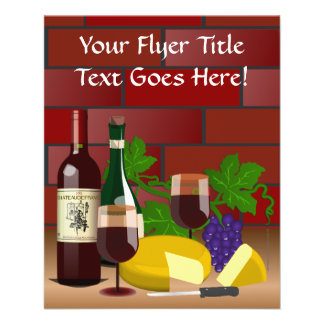 "Escena de la tabla del queso del vino folleto 4.5"" x 5.6"""