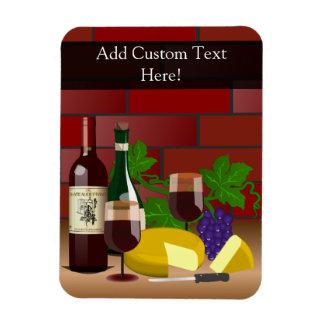 Escena de la tabla del queso del vino imán rectangular