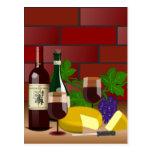 Escena de la tabla del queso del vino postales