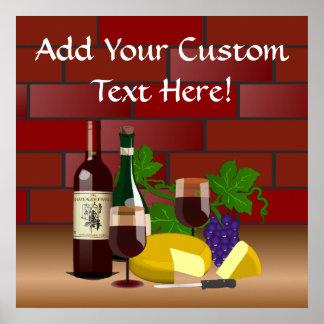 Escena de la tabla del queso del vino póster