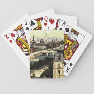 Escena de la torre Eiffel de París del vintage Baraja De Póquer