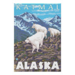 Escena de las cabras de montaña - Katmai, Alaska Poster